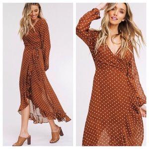 Dresses & Skirts - Polka dots chiffon wrap dress
